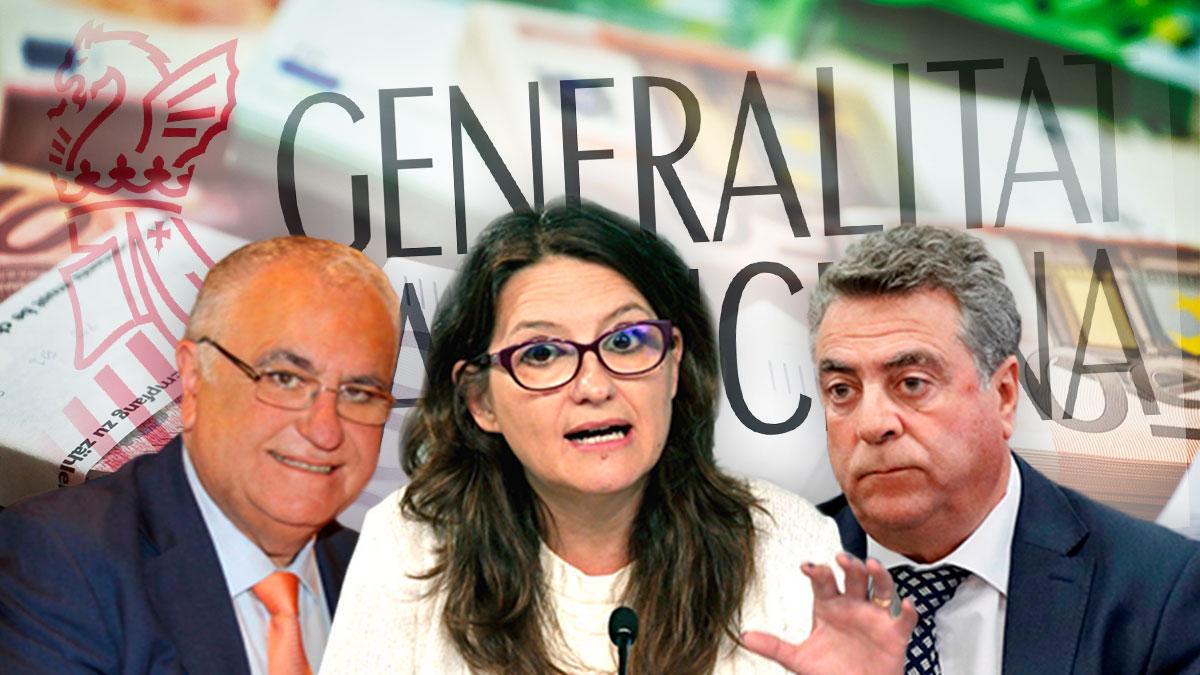 El ex conseller Juan Cotino, Mónica Oltra y Enrique Ortiz.