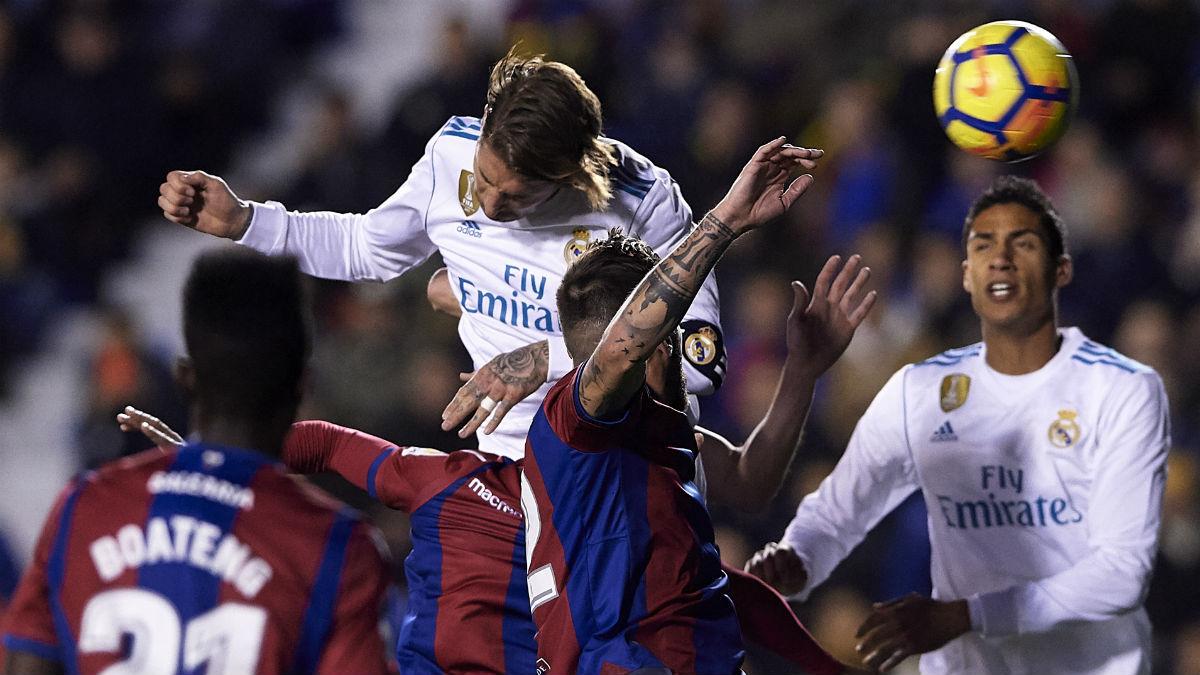 Ramos marca el 0-1 para el Real Madrid. (Getty)