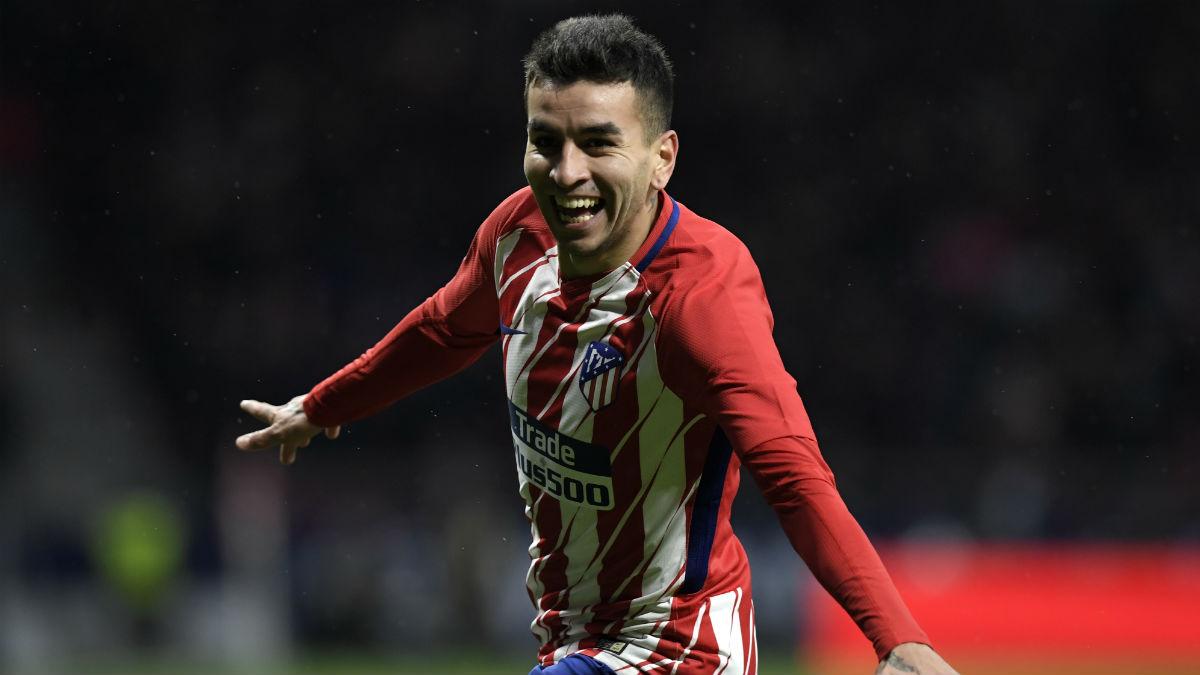 Ángel Correa celebra su gol durante el Atlético vs Valencia. (AFP)
