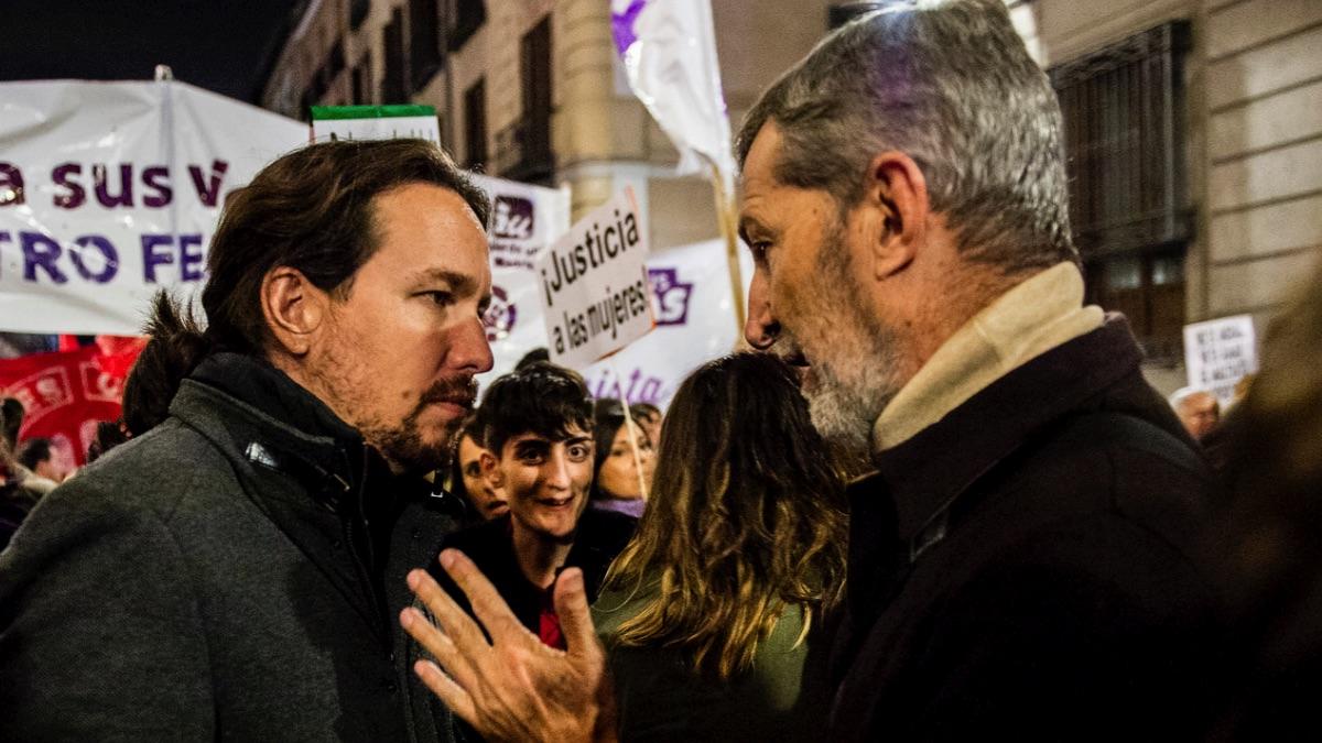 El líder de Podemos, Pablo Iglesias, y el líder municipal Julio Rodríguez. (Foto: Flickr)