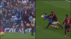 Piqué agarró a Leo Baptistao y Gerard Moreno.