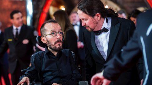 Pablo Echenique y Pablo Iglesias este sábado en la gala de los Goya. (Foto: Flickr)