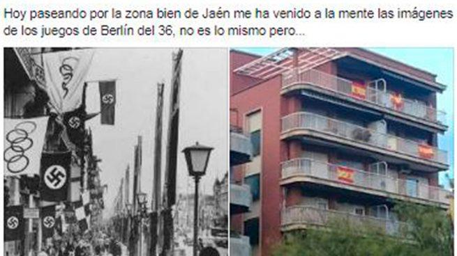 Un miembro de Podemos Jaén compara las banderas españolas en los balcones con el nazismo