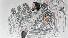 Retrato de Salah Abdeslam en el primero de los juicios tras los atentados de París. (Foto: AFP)