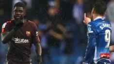 Sergio García recrimina a Umtiti una acción en el Espanyol-Barcelona. (EFE)