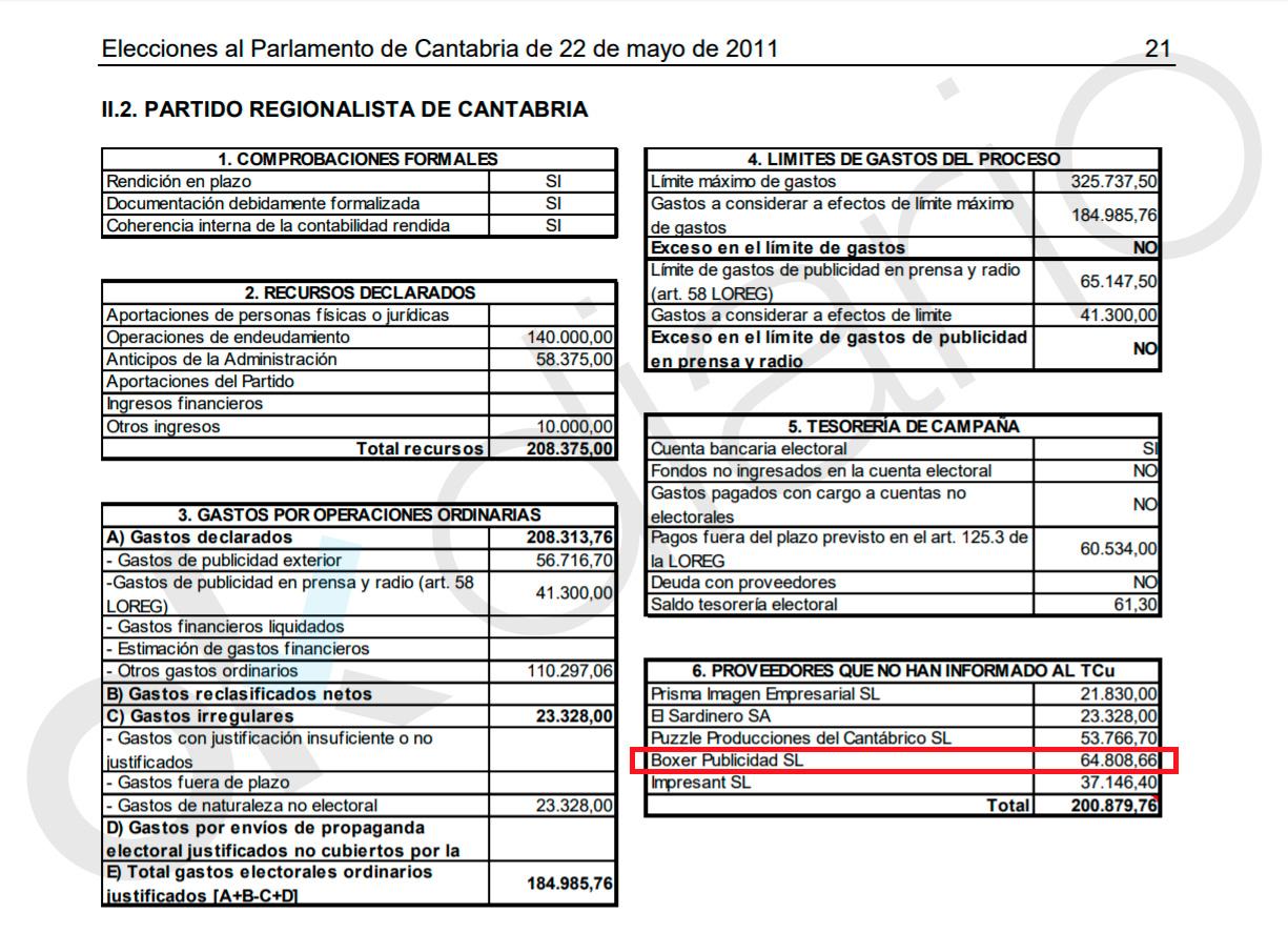 El hermano del líder del partido de Revilla en Santander ocultó 64.000€ al Tribunal de Cuentas