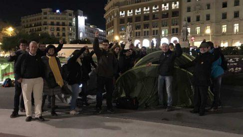 independentistas acampando en el centro de Barcelona.