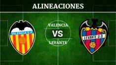 Consulta las posibles alineaciones del Valencia vs Levante