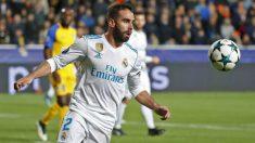 Carvajal en el duelo disputado ante el APOEL. (AFP)