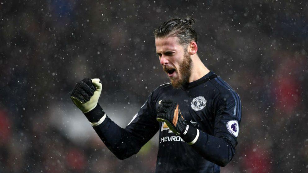 David de Gea celebra un gol de Manchester United (Getty).