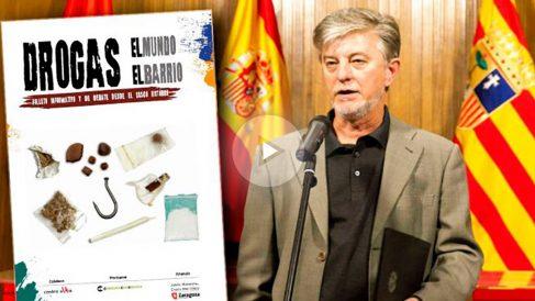 El alcalde podemita de Zaragoza, Pedro Santisteve, y el folleto que anima a consumir drogas