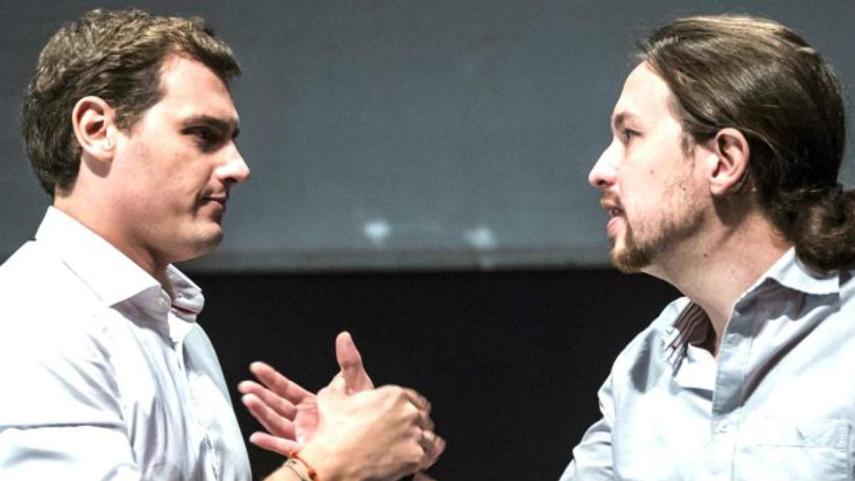 Los líderes de C's, Albert Rivera, y de Podemos, Pablo Iglesias. (EFE)