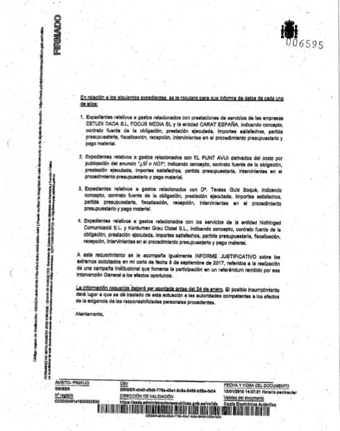 Hacienda exige a la Generalitat la entrega del detalle de todos los pagos por publicidad a prensa y a TV3