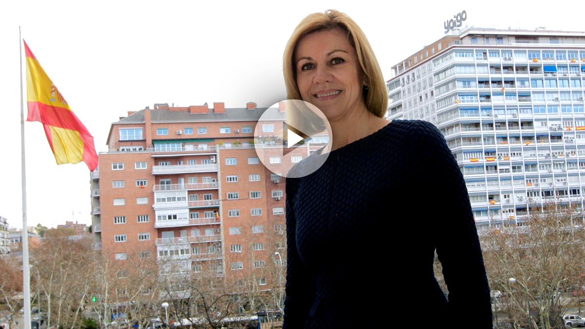 La secretaria general del PP, María Dolores de Cospedal, en un momento de la entrevista con OKDIARIO.