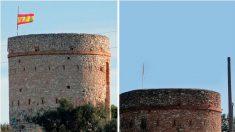 Las torres de defensa de Vendrell (Tarragona): la de Puig con una bandera española y la de Botafoc con una los trozos de una estelada (Fotos: 'É-Notícies)