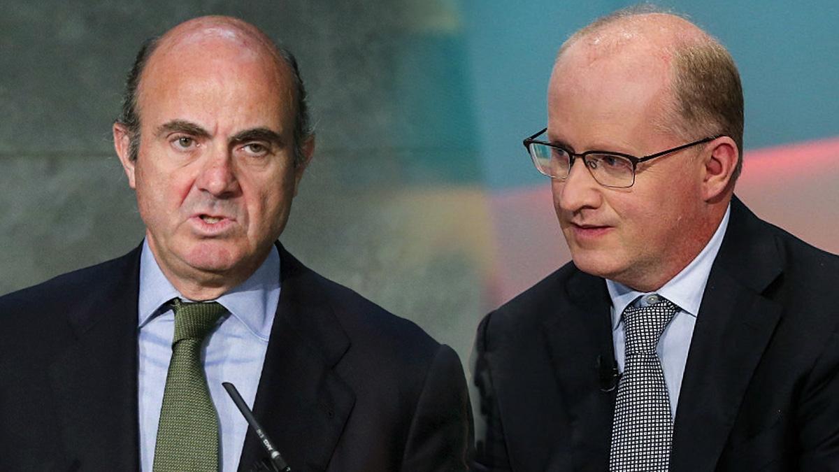 El ministro de Economía, Luis de Guindos, y Philip Lane, actual gobernador del Banco de Irlanda