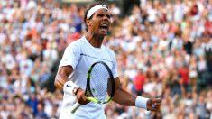 Rafa Nadal, en un partido de Wimbledon. (Getty)