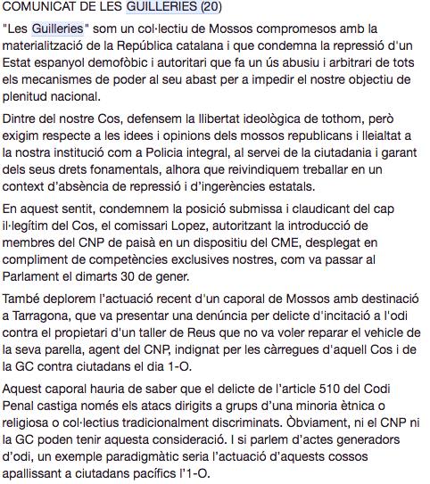 Comunicado de Les Guilleries contra el cabo que denunció al mecánico del odio en Reus