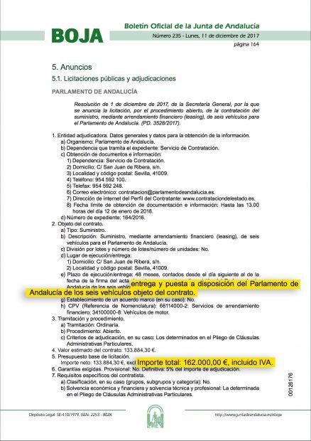 Boletín Oficial de la Junta de Andalucía con la contratación de los seis coches