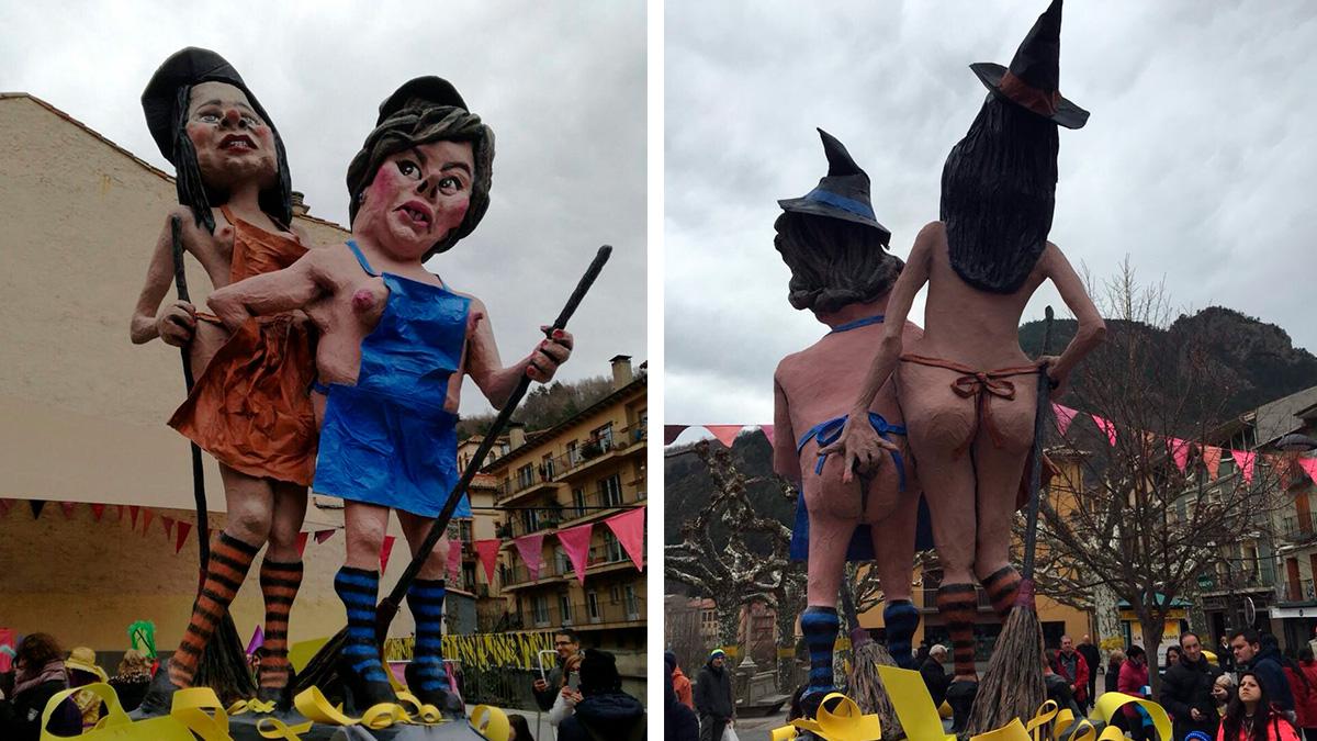 Inés Arrimadas y Soraya Sánz de Santamaría, caricaturizadas en unos carnavales con un alto contenido sexual