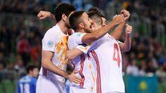 Los jugadores de España celebran un gol en el Europeo Futbol Sala 2018. (UEFA)