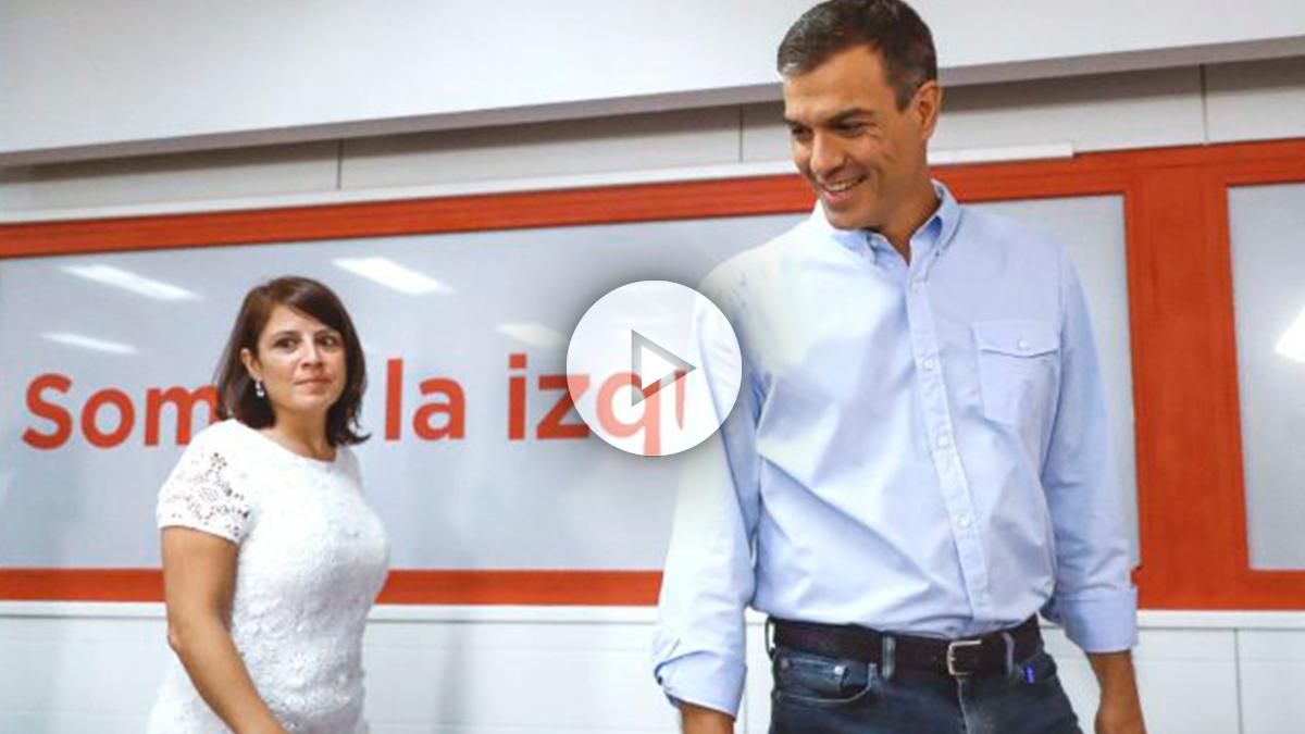 El secretario general del PSOE, Pedro Sánchez, acompañado por la vicesecretaria general del PSOE, Adriana Lastra (Foto: Efe)