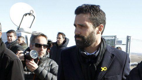 El presidente del Parlament de Cataluña, Roger Torrent, a la salida de la prisión de Estremera. (EFE)