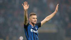Milan Skriniar celebra una victoria del Inter de Milán. (Getty)