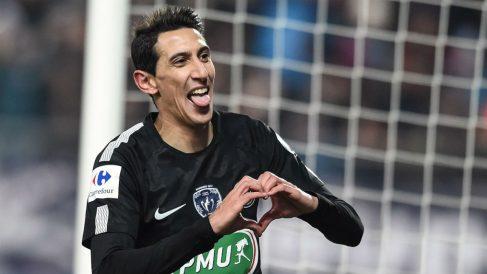 Di María celebra uno de sus tres goles al Sochaux, en Copa (AFP).