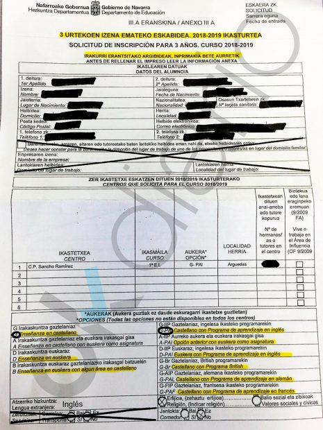 Formulario enviado por el Gobierno de Navarra para la prematriculación en el curso 2018/2019