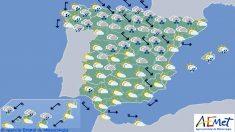 Previsión del tiempo para el viernes 9 de febrero. (Foto: EFE/Aemet)