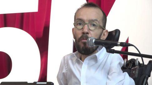 El secretario de Organización de Podemos, Pablo Echenique, durante el acto del partido en la Morada de Arganzuela