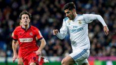 Asensio encara durante un partido del Real Madrid. (EFE)