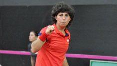 Carla Suárez celebra su victoria en la Copa Federación. (Twitter)