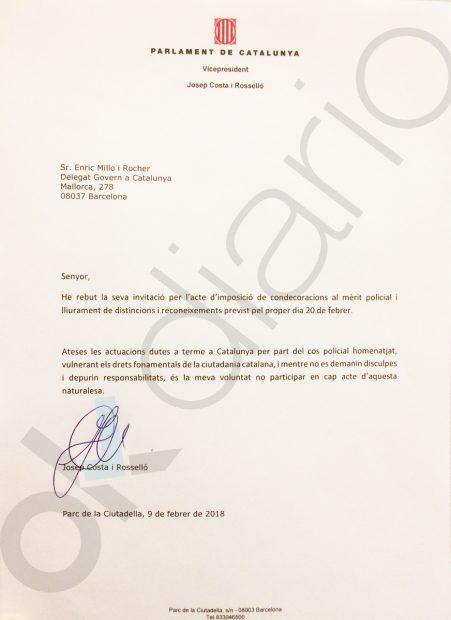 La carta de JxCat a Millo en la que rechazan ir a la condecoración de policías
