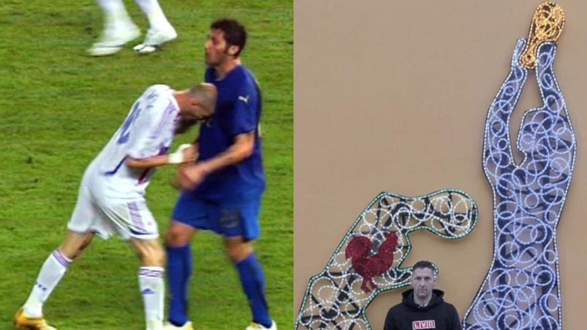 El cabezazo de Zidane a Materazzi y la escultura del ex futbolista italiano.
