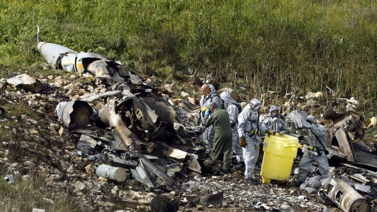 El F-16 israelí derribado por Siria (Foto: AFP)