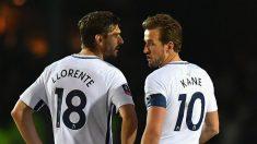 Kane junto a Llorente durante un partido del Tottenham (Getty)