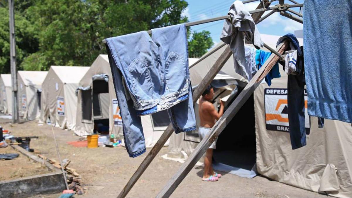 Inmigrantes venezolanos acampados en Boa Vista, la capital del estado de Roraima (Brasil).