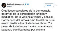 Tuit de Carles Puigdemont.