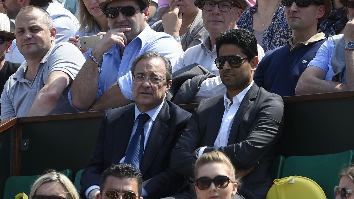 Al khelaifi y Florentino presenciando un partido de tenis. (AFP)