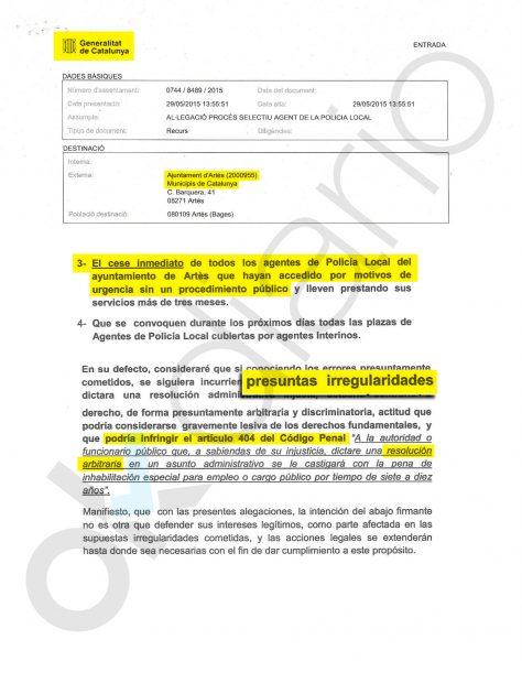 Denuncia contra el ayuntamiento de Artés (Manresa)