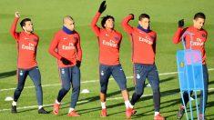 El PSG se ejercita antes de un partido. (AFP)