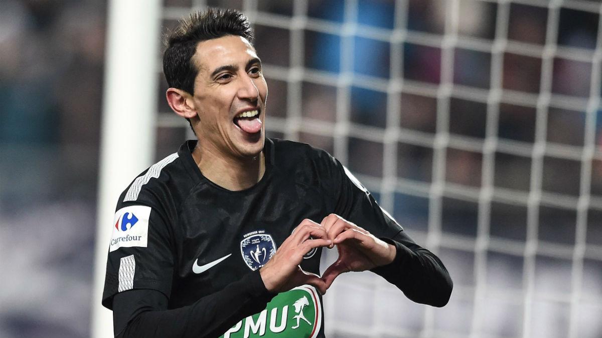 Di María celebra un gol ante el PSG. (AFP)