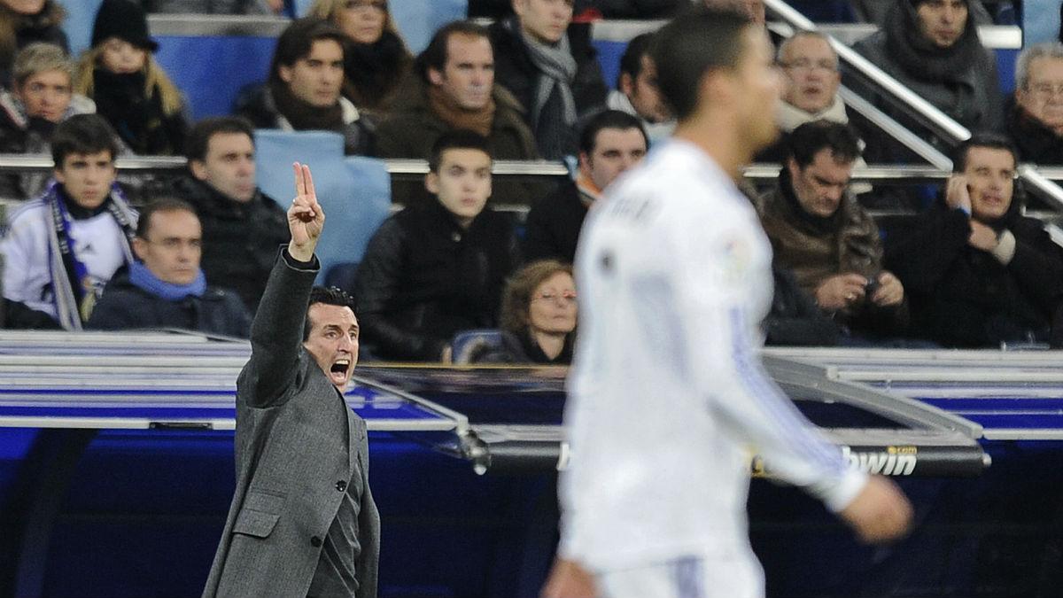 Unai Emery durante un partido ante el Real Madrid. (AFP)