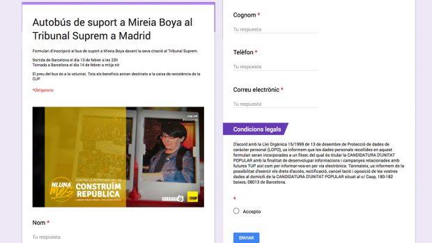 """Formulario de la CUP para viajar en el """"autobús solidario"""" con Mireia Boya."""