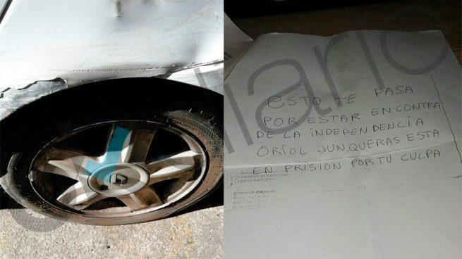 """Pinchan las ruedas al coche de un vecino en el pueblo de Junqueras: """"Oriol está preso por tu culpa"""""""
