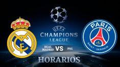 Consulta aquí a qué hora se juega el Real Madrid – PSG y dónde ver el partido de los octavos de final de la Champions League.