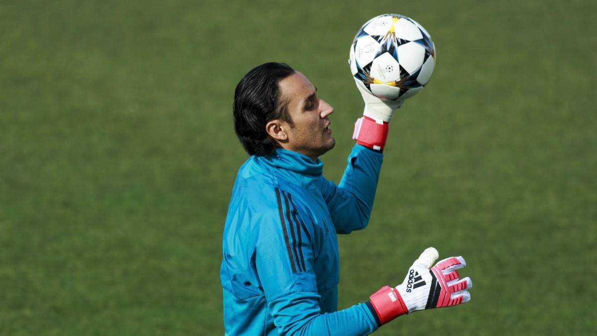 Keylor Navas, en un entrenamiento del Real Madrid. (Getty)