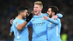 El Kun Agüero, Kevin de Bruyne y Bernardo Silva celebran uno de los goles del Basilea vs Manchester City. (AFP)